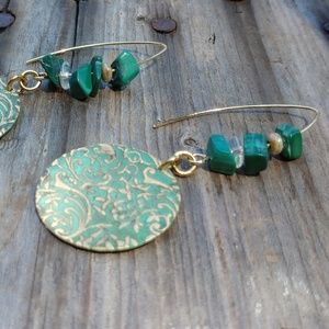 🌵Semi-Precious Malachite & Embossed Floral Coins